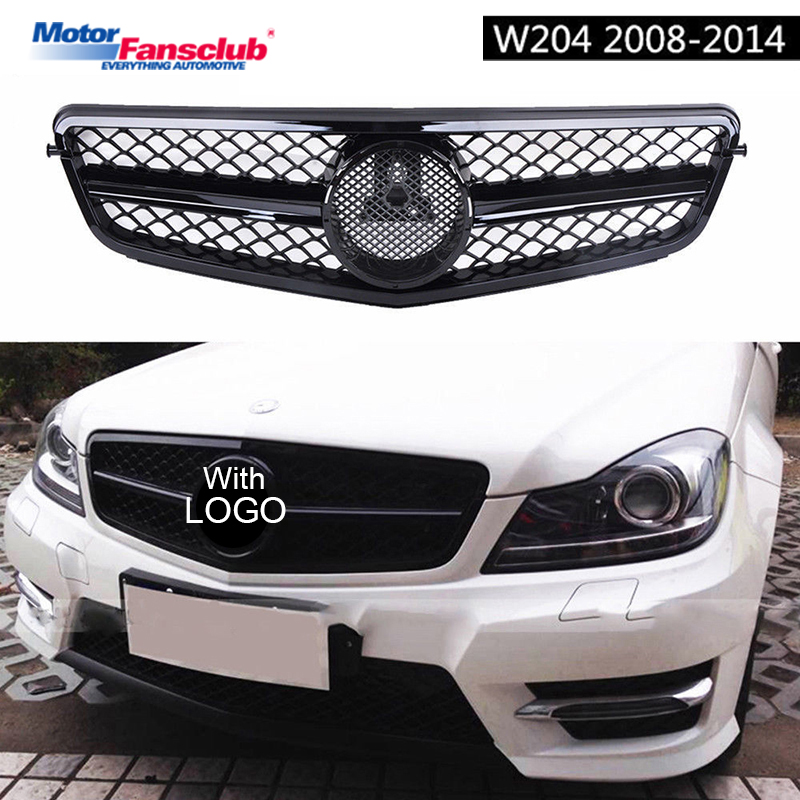 Matte/Gloss Black Car Racing Grille For Mercedes W204 Grill 2008-2014 C300 C180 AMG Emblems Mesh Radiator Front Bumper Modify cresfimix sapatos femininos women casual spring and summer slip on dance shoes lady cute soft bottom flower printed shoes