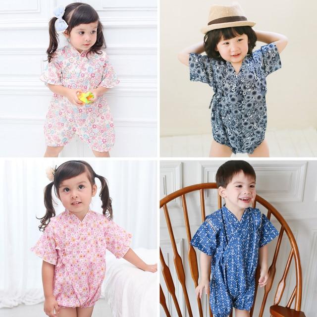 Kimono baby clothes japanese style kids clothes girls romper retro bathrobe uniform clothes infants pajamas floral Costume 1