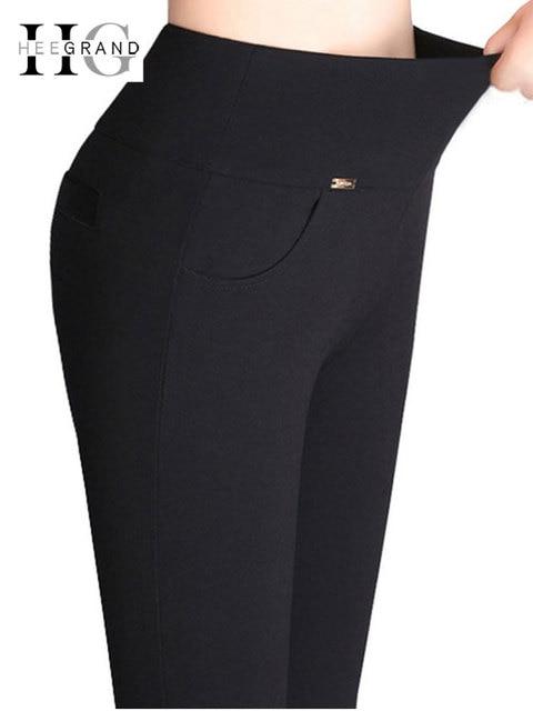 HEE GRAND 2018 New High Stretch Women Pants Cotton Ladies Pencil Pants High Waist Trousers Pantalon Femme Plus Size 4XL WKP268
