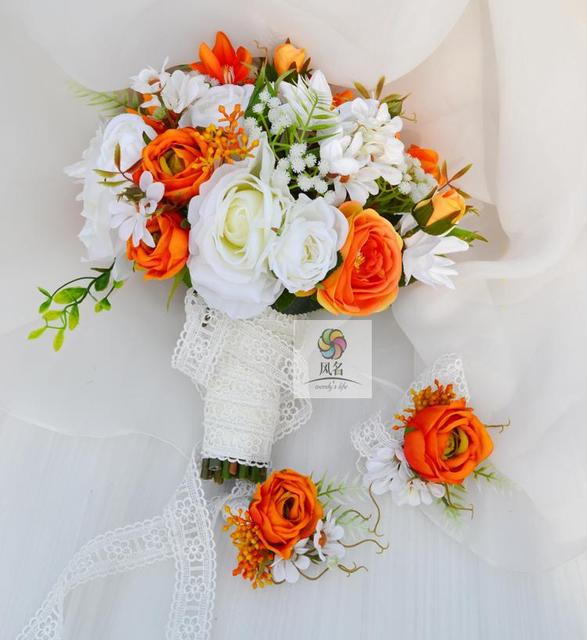New Creative White Orange Rose Daisy Clematis Handmade Flower Bouquet Wedding Prose Bridal Bunny