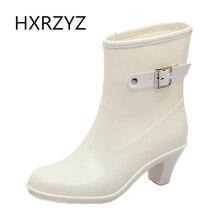 Zapatos de agua de las mujeres de Primavera/otoño y el verano de Moda Mujer Botas De Lluvia Botas De Goma antideslizante y El algodón Y botas de lluvia del tobillo zapatos