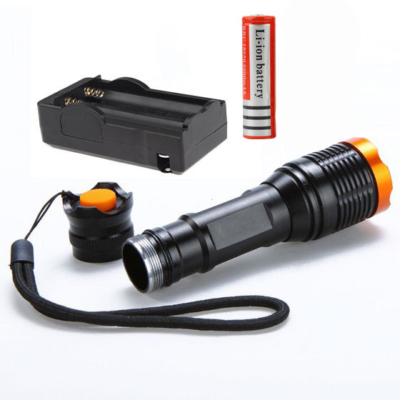 New 20000LM LED torch Flash lamp 5 modes Focus lamp Zoomable Led Flashlight Torch lights Charger