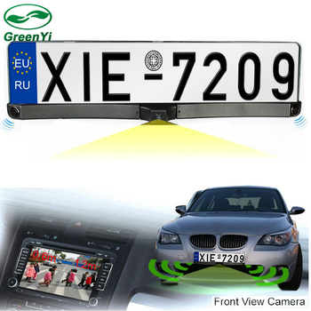 GreenYi Auto Front / Rear Parking Radar Sensor + HD CCD Europe Russia License Plate Frame Car Front Camera Without Parking Line