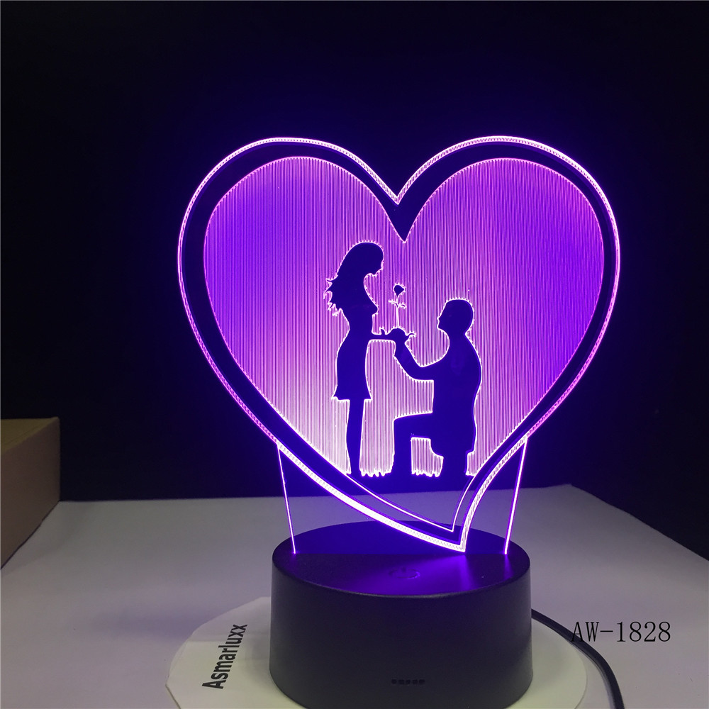 Propose Wedding Decoration 3D Holograma 7 Color USB Night light Acrylic custom Desk Lamp Luz De LED Gift for Girlfriend 3D-1828 image