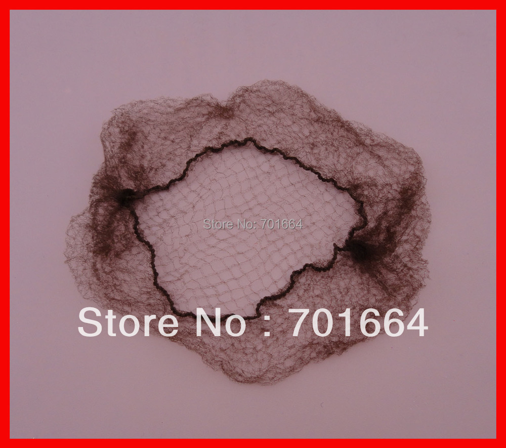 50PCS Adult Size 50.0cm Stretch Brown Bunhead Hiding Hairnets for holding ponytails or l ...