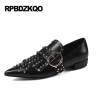 Fringe Genuine Leather Black Pointed Toe Famous Brand Shoes Tassel Flats Women Real Luxury Stud Loafers Rivet Designer Beautiful