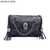 Fashion 2014 Skull Bag Rivet Tassel Motorcycle Handbag Black Portable Women S Handbag Shoulder Bag Messenger