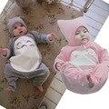 Primavera outono bebê de manga comprida macacão escalada + chapéu conjunto bonito Totoro bebês macacão roupas BB