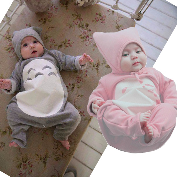 Spring Autumn Infant Baby Long-sleeve Rompers Climbing Suit + Hat Set Cute Totoro Babies Jumpsuit BB Clothing mother nest 3sets lot wholesale autumn toddle girl long sleeve baby clothing one piece boys baby pajamas infant clothes rompers