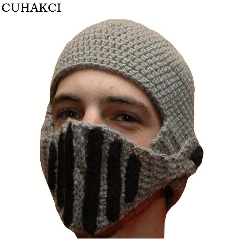 CUHAKCI 2017 Novelty Roman Knight Helmet Caps Cool Handmade Knit Ski hat  Warm Winter Hats Men Women Gift Funny Ski Mask 1b5237a10ef