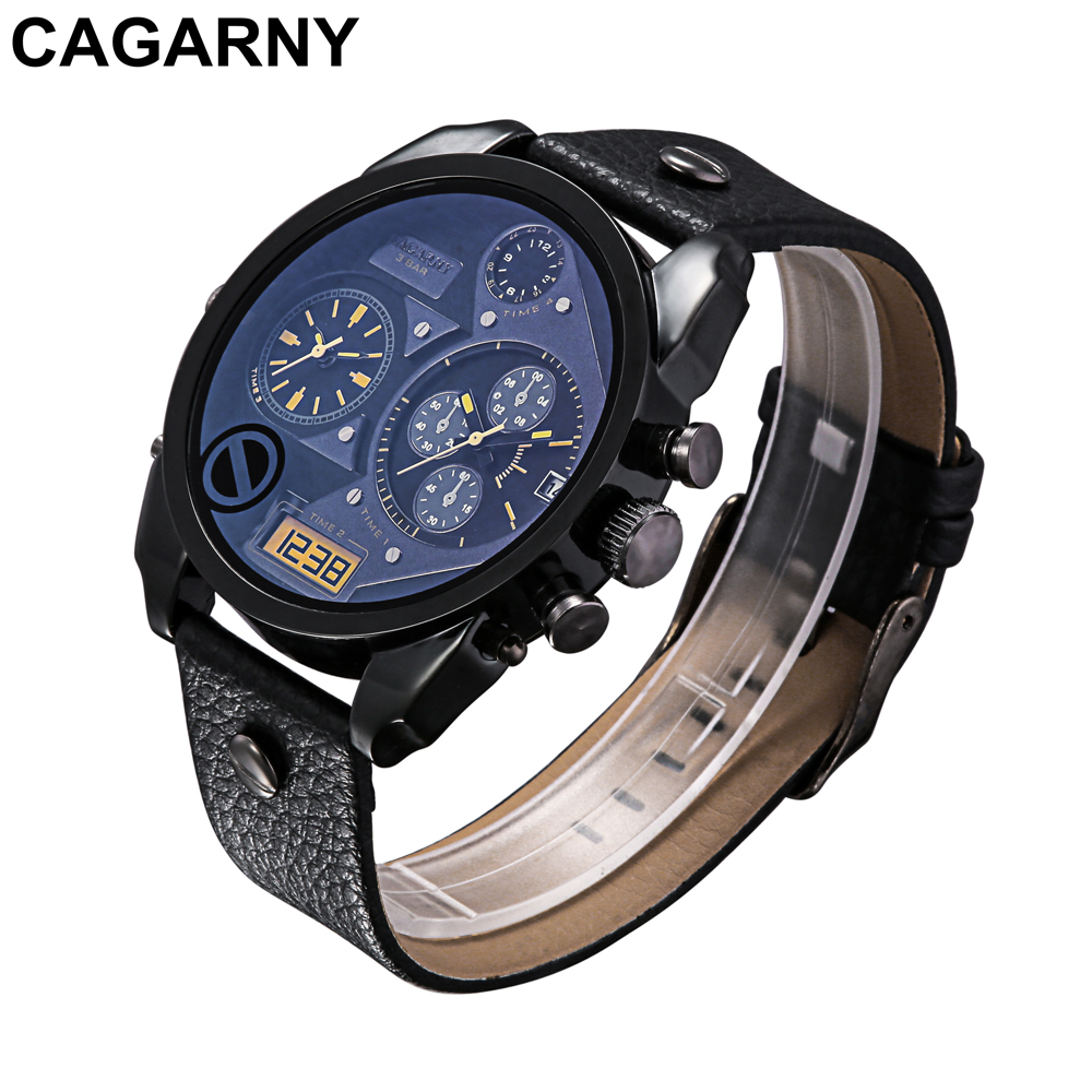 mens military watches army rose gold case black leather strap sports watches dual time zones large dial male clock for brave men free shipping (12)