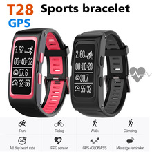 T28 GPS Tracker Smart Bracelet Bluetooth Mobile Phone Watch Sports  Wristband Heart rate For iOS Android Run Riding Climbing A1