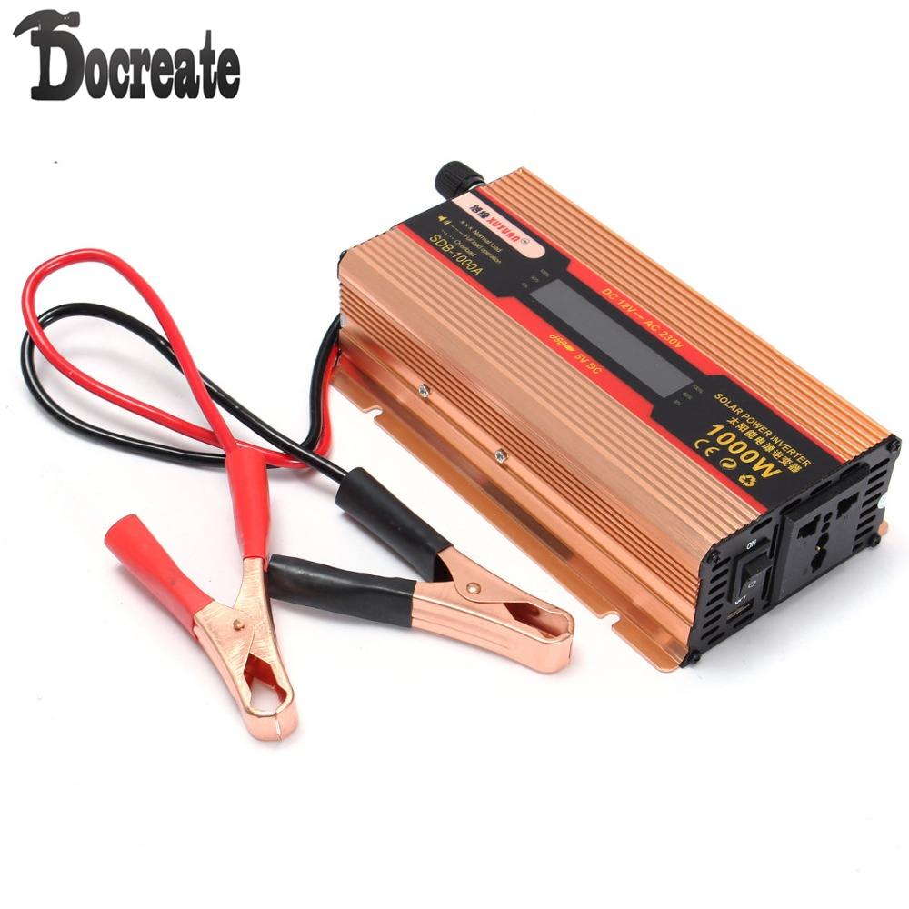 1000W DC12V to AC 220V Power Inverter Converter Adapter LCD Display Solar мультиметр uyigao ac dc ua18