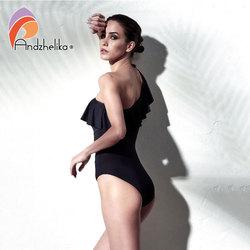 Andzhelika, сексуальный цельный купальник, женская одежда для плавания, на одно плечо, одежда для плавания, с оборками, сетчатые боди, пляжный куп... 4