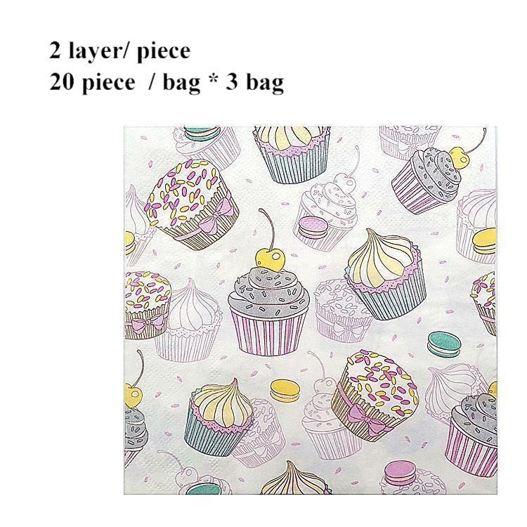 Summer Home Table Paper Napkin Tissue Disposable Cup Cake Printing Square Restaurant Birthday Kleenex Tissue 20pcs/bag * 3 Bag