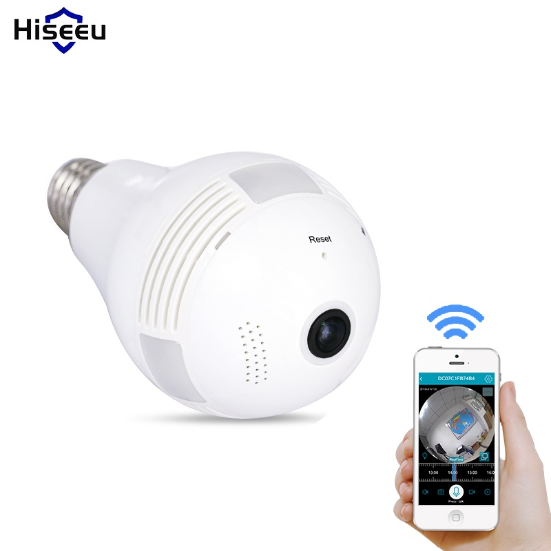 Bulb light wireless ip camera wi fi fisheye 960p 360 - Camera de surveillance factice ...