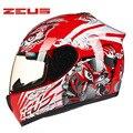 Genuine ZEUS Motorcycle helmet DOT Approved Certification Full Face Motocross Racing Helmet motociclistas capacete Moto Casco