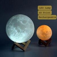 Night Light 3D Printing Moon Lamp Lunar USB Charging Night Light Touch Control Brightness Two Tone
