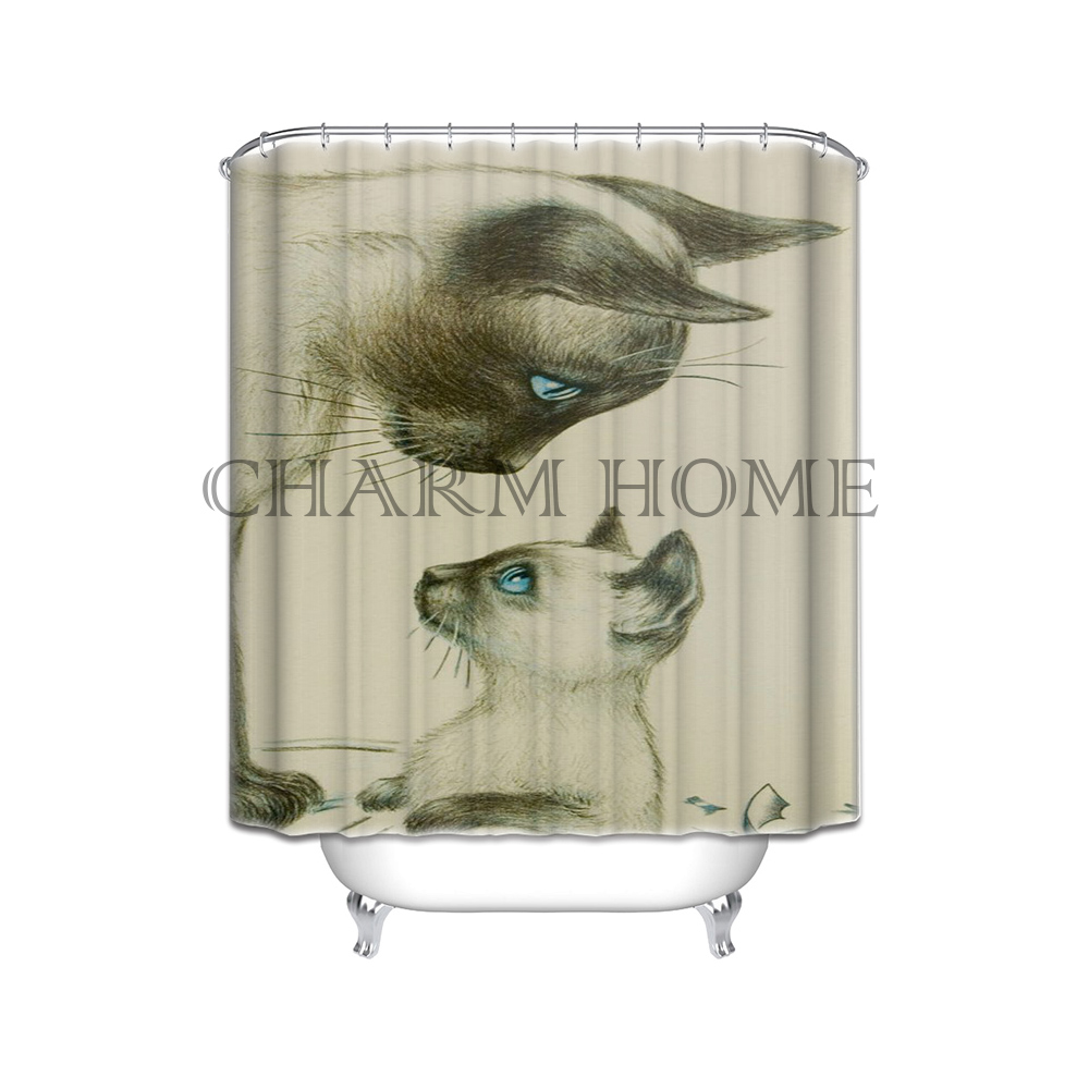 Charmhome Custom Cozy Cats Waterproof Polyester Fabric Bathroom Shower Curtain Standard Size 66