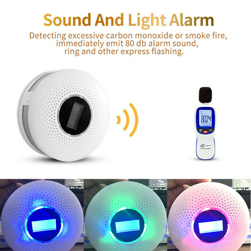 LCD Smart Voice Carbon Monoxide Sensor CO Alarm Detector Fire Warning Monitor