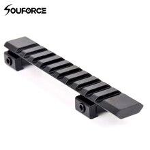 Алюминиевый сплав picatinny weaver rail адаптер 10 слотов мм и 124 мм длина Охотничья винтовка/Воздушный пистолет weaver Охота область крепление аксессуар