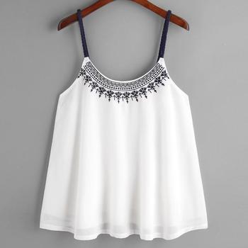 Fashion Chiffon women's summer blouses 2018 woman tanktop Women Sleeveless Tank Tops Embroidered Chiffon Cami Top Blouse