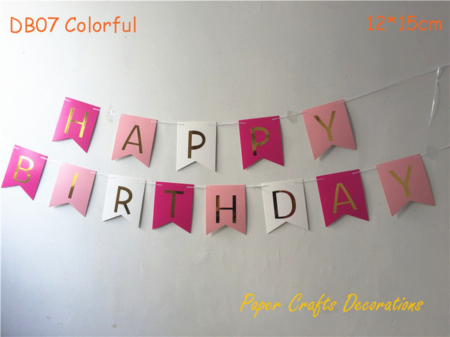 One Set 1620cm Colorful DIY Happy Birthday Swallowtail Bunting Banner Hanging Event Party