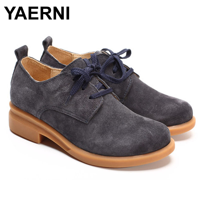 YAERNI Shoes Woman Flats Genuine Leather Ladies Flat Shoes Women Casual shoes Round toe Lace up Female Footwear asumer white spring autumn women shoes round toe ladies genuine leather flats shoes casual sneakers single shoes