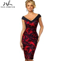 Nice Forever Vintage Contrast Color Elegant Flower Sexy Off Shoulder Vestidos Business Party Bodycon Sheath Women