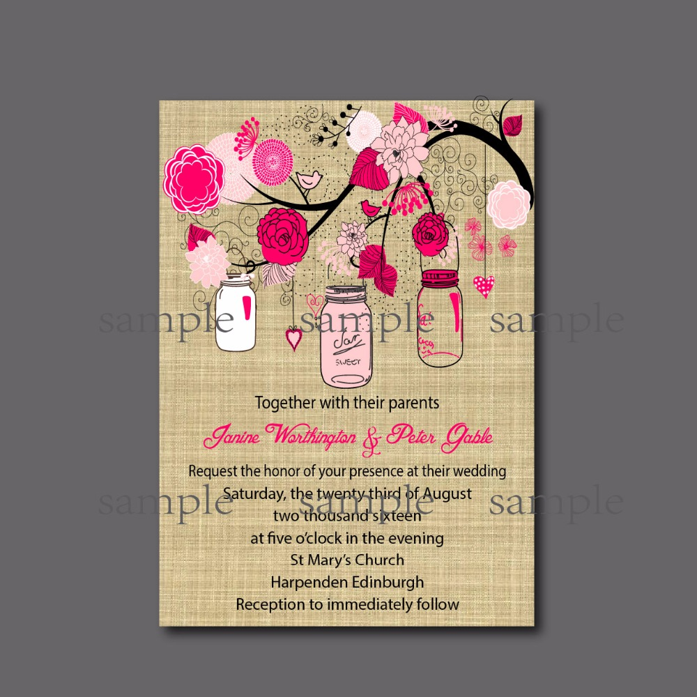 20 Pcs Lot Vintage Mason Jar Wedding Invitation Chalkboard Rustic