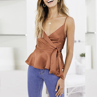 2019 summer women's new casual sexy V neck silky satin ruffled camisole vest top