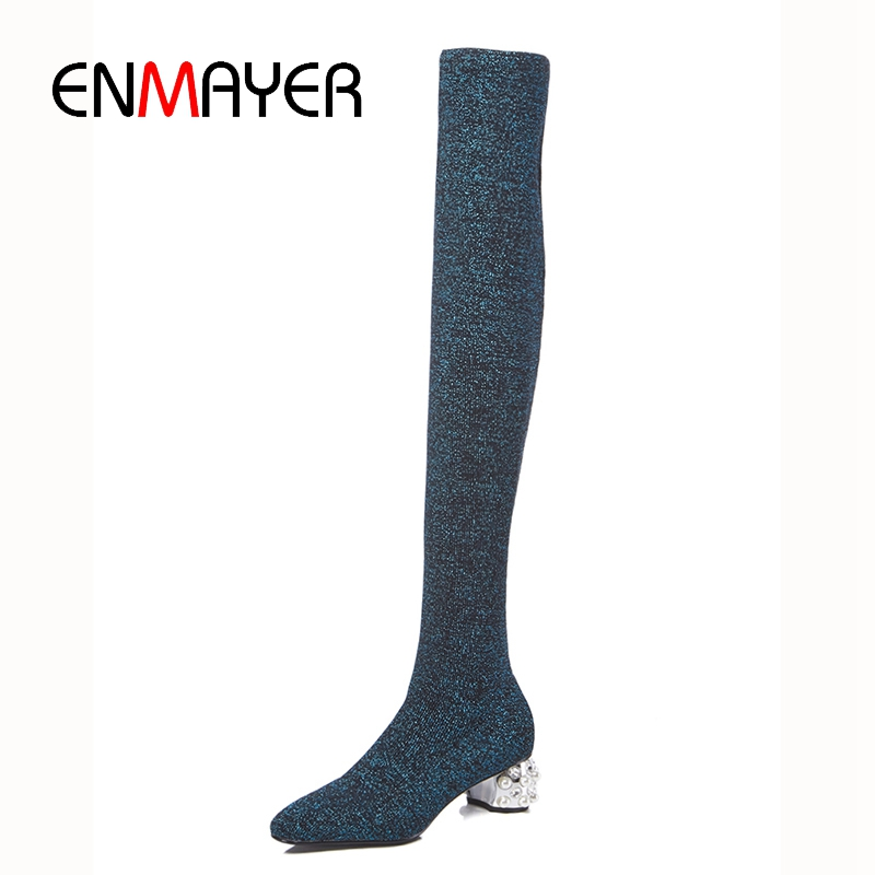 ENMAYER New fashion women knitting over the knee square heel boots lady round toe slip on