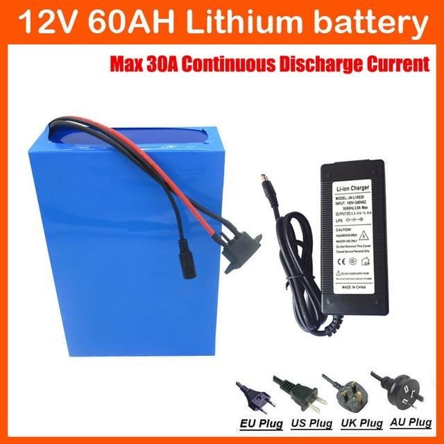 12 V Lithium batterie 12 V 60AH pour rue lumière vélo électrique CCTV caméra 12 V 60AH batterie pack Avec 30A BMS 12.6 V 5A chargeur