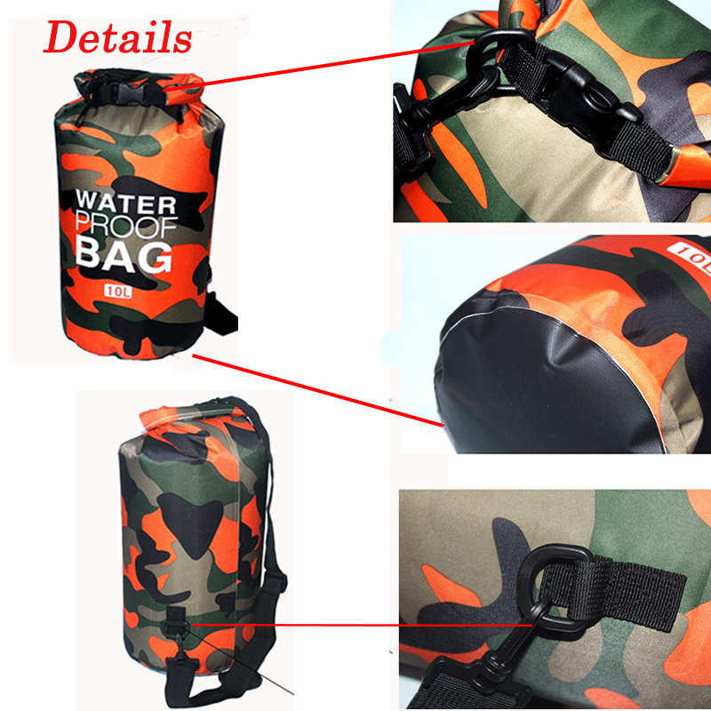 Outdoor Camouflage Waterproof Bag Portable Rafting Diving Dry Bag Sack PVC Folding Swimming Storage Bag for River Trekking 20L 5