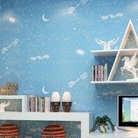 Star Sky Wallpaper Children S Room Bedroom 3D Stereoscopic Blue Stars Moon Wallpaper Non Woven Cartoon