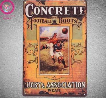 30x20cm Concrete Football Vintage Home Decor Tin Sign Wall Decor Metal Sign Vintage Art Poster Retro