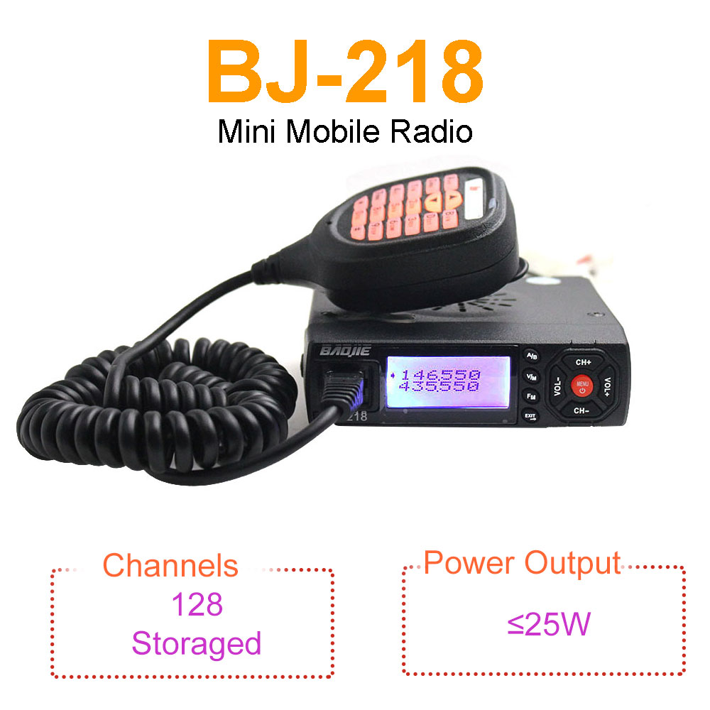 Mini Mobile Radio BAOJIE BJ-218 25W Output Power Dual Band 136-174 & 400-470MHz FM Radio BJ218 Walkie Talkie