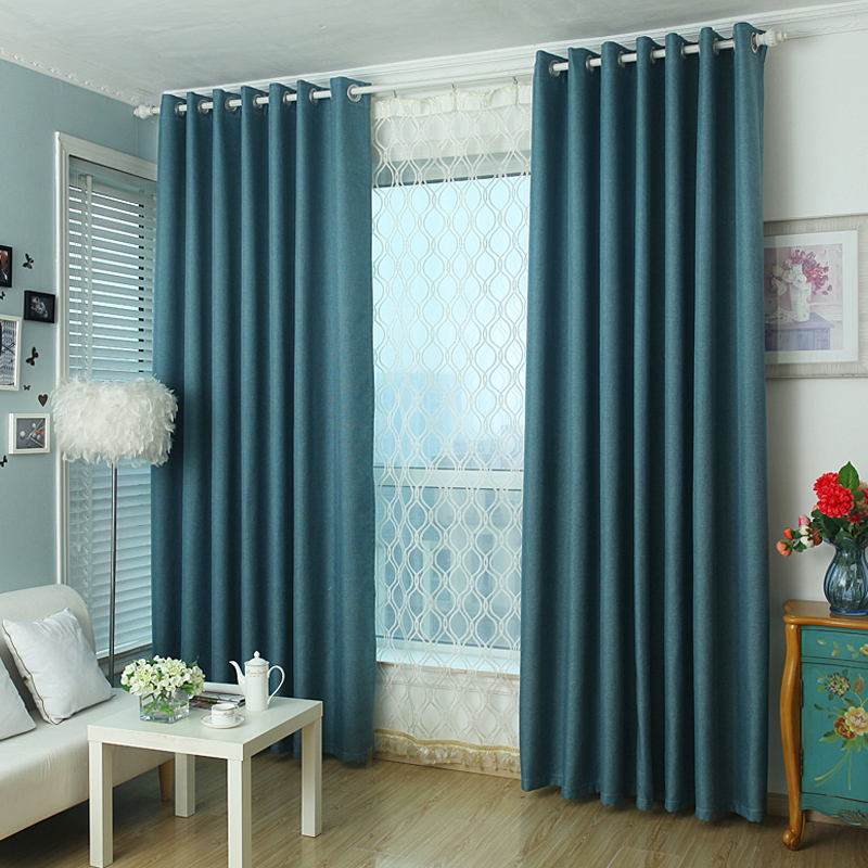 Solid Color Small Square Plain Linen Blackout Curtain For
