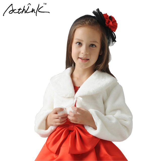 ActhInK New Girls Long Sleeve Winter Wedding Faux Fur Bolero Brand Baby Girls Formal Soft Party Coat Kids Fall Wedding Cape,C265