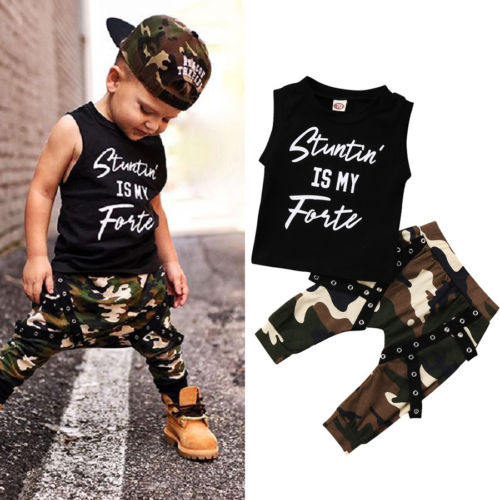 Casual Toddler Kids Baby Boys Summer Sleeveless Letter Print Tops T-shirt Camo Pants Outfits Cool Children Set Clothes одежда на маленьких мальчиков
