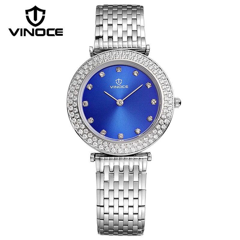 ФОТО VINOCE Luxury Crystal Diamond Women Blue Wristwatches Elegant Stainless Steel Band Ladies Watch Waterproof Relogio Feminino 2016