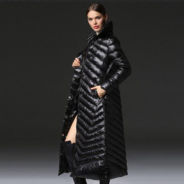 YNZZU новый женские зимние модные пуховые пальто очень длинные толстые теплые черные пуховики на молнии 90% белые пуховики на утином пуху зимняя одежда O112