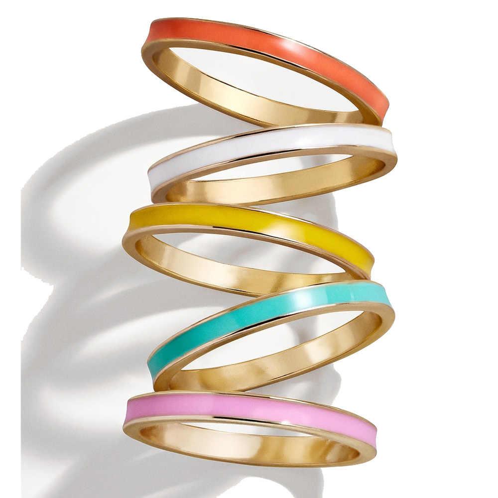 Us ขนาด 5 6 7 8 คลาสสิก 2 มม.แหวนหมั้นแหวนเคลือบสีสัน stack ซ้อนแหวนแฟชั่น