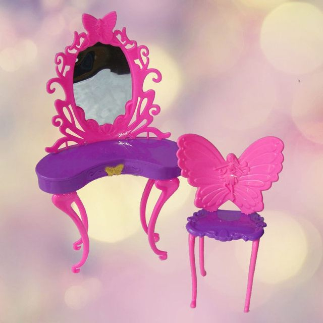 HOT Kids Girls Pink Fantasy Doll Butterfly Dressing Makeup Table Chair  Bedroom Furniture Doll Accessory For Kid Doll