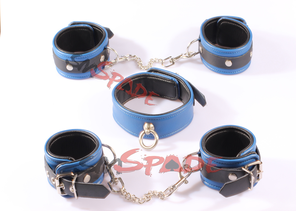3 in 1 kit Elegant Genuine Leather Restraint KIT: hand cuffs ankle cuffs leather collar Leather flirting adult Toy