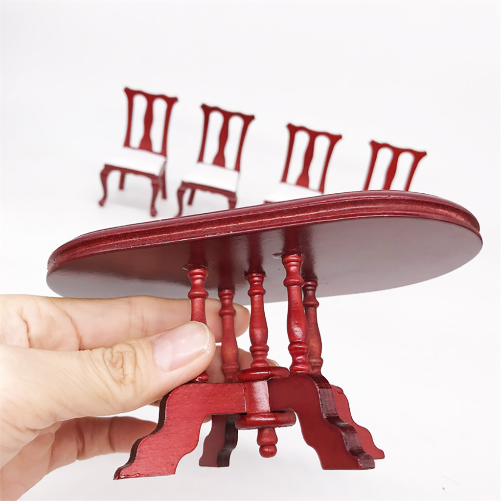 1:12 Dollhouse Miniature Furniture Red Wooden Color Dining Table Chair Set Furniture For Dollhouse Doll House Accessories W5061:12 Dollhouse Miniature Furniture Red Wooden Color Dining Table Chair Set Furniture For Dollhouse Doll House Accessories W506
