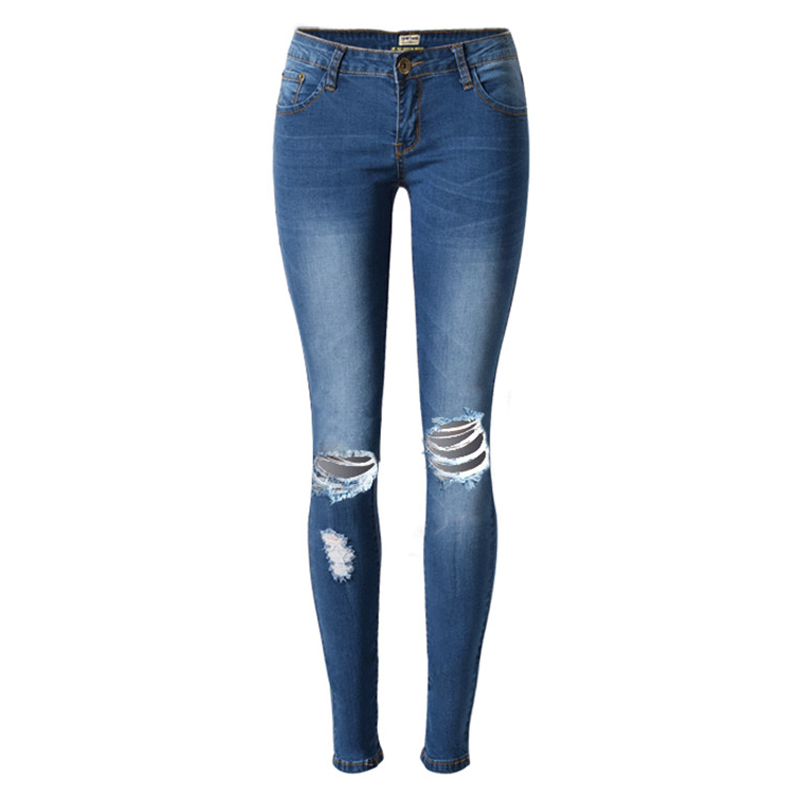 2016 New Women Brand Clothing Nice Blue Summer Style Jeans Hole Fashion Women American Appearance Thin