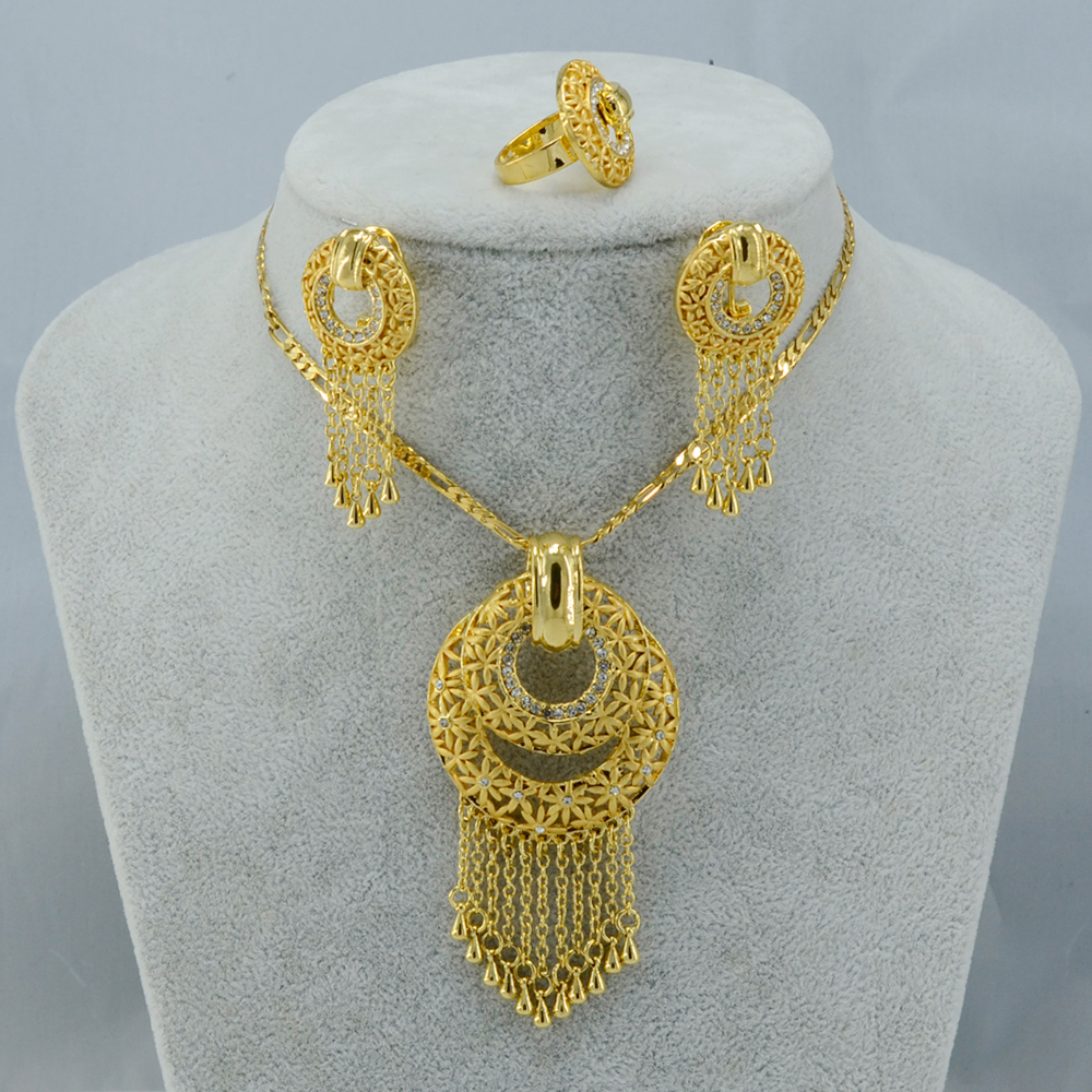 Wedding Ring On Chain Boy Or Girl: Africans Jewelry Sets Gold Plated Pendant Chain/Earring