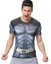 Red Plume Men's Compression Tights Fitness Sport Outdoor T-shirt, Superman Batman T-Shirt