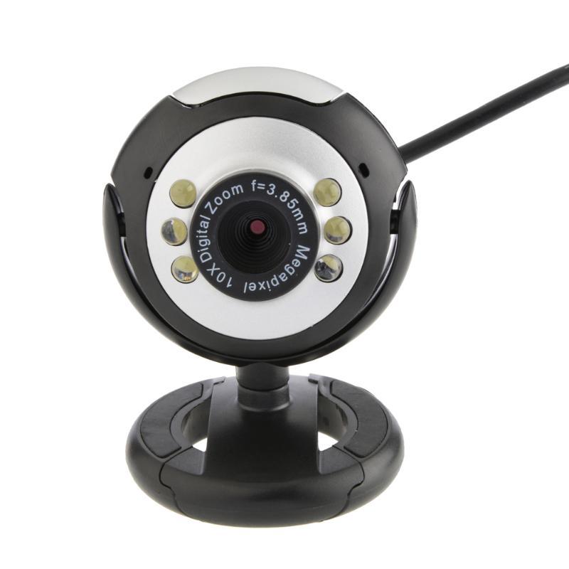 USB Webcam High Definition 12.0 MP 6 LED Night Light <font><b>Web</b></font> Camera Buit-in Mic Clip Cam for PC Desktop Laptop Notebook Computer